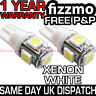2x 5 SMD LED XENON WHITE SIDE LIGHT BULB 501 W5W T10 PUSH WEDGE 360 FREE UK P&P