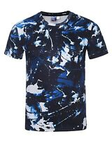 Blue Camo T-Shirt ( camouflage tie dye acid wash all over print printed tee )