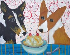 Pembroke Welsh Corgi Eating Ice Cream Dog Collectibles 8 x 10 Pop Folk Art Print