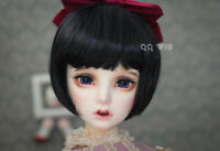 QQ-35F BJD Doll Synthetic Mohair Wig Black Color  1/6; 1/4;1/3 sizes