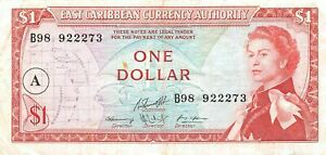 East Caribbean States  $1  ND. 1965  P 13  Series B98  Circulated Banknote G13