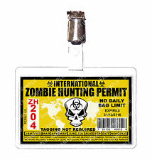 Zombie International Hunting Permit ID Badge Cosplay Prop Comic Con Comic Con