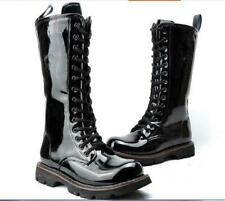 military Mens combat punk boots Mid Calf patent leather Strappy motorcycle shoes