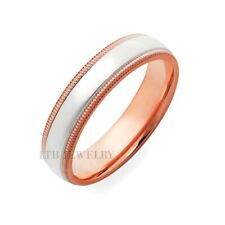 10K Two Tone Gold Wedding Bands, 6Mm White & Rose Gold Mens Wedding Ring
