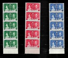 Malta, 1937 KGVI coronation, complete set in MNH marginal strips of 5 (M373)