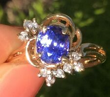 1.21ct Natural Tanzanite gemstone Best Color Earth Mined 10k gold diamond ring