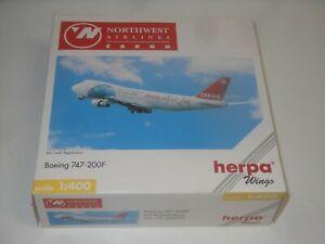 Boeing 747 - 200 F Northwest Airline Cargo - Herpa Model 560375 - Boxed - 1:400