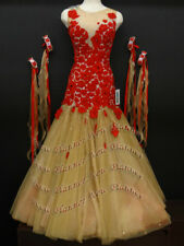B7344 Ballroom Tango Waltz standard dance Competition dress us 6 skin/red