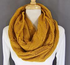 Mustard chunky cable knit circle infinity endless loop long soft scarf cowl