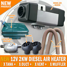 NEW 12 Volt 2KW Diesel Air Heater Metal Tank 2 x Vent 2 x Duct 1 x Muffler
