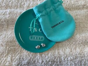 Tiffany and Co Diamond and Platinum Earrings 0.54 tcw & Trinket Tray and Pouch