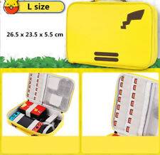 L Pikachu Carrying Case For Nintendo Switch Console Joy-Con Zipper PU Leather