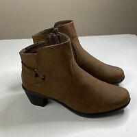 Easy Street Womens Brown Matte Dawnta Ankle Boots Shoe Size 8 W
