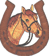 EQUESTRIAN-HORSE HEAD IN HORSESHOE-Iron On Embroidered Patch-Western,Animal Farm