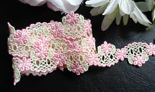 pink/light yellow embroidery lace trim 7/8 inch wide selling by the yard