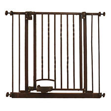 North States Slide-Step & Open Hands-Free Baby / Pet Metal Gate, Bronze | 4935