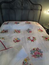 VINTAGE RARE HARD TO FIND HUNGARIAN HAND EMBROIDERED & HAND QUILTED 98X80 QUILT