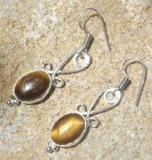 Handmade fancy ethnic silver plated earrings with tigers eye cabochons
