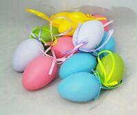 "Easter Egg Ornament Set 12 Pink Purple Blue Yellow Green 2.5"" Hanging Decor"