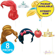 DISNEY PRINCESS BIRTHDAY PARTY SUPPLIES 8 PHOTO BOOTH PROP KIT FOR SCENE SETTER
