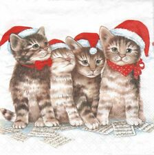 Lot de 2 Serviettes en papier Chat Chatons Bonnet de Noël Decoupage Decopatch
