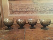 Vintage Morgantown Glass Seneca Driftwood Crinkle Brown Sherbet Bowls Set of 4