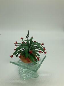 Dollhouse Miniature Artisan Hanging Christmas Cactus (r)