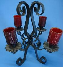 Vtg Primitive Wrought Iron Candelabrum 4 Arms w/ Red Glass Shades - candelabra