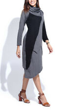 Jumper Dress Size 16 Charcoal Grey & Black With Cowl Neck