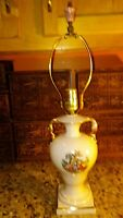 Antique Porcelain DEVEREAUX Table Lamp Colonial Victorian Scene Ornate Gold Trim