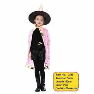 Halloween Witch Costume Cape Hat For Adult Kids Unisex Party Costumes Outfits