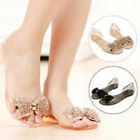 Woman Flat Sandals Summer Shoes Bow Sandals Transparent Crystal Jelly Shoes