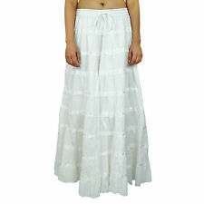 Maxi Beach Wear Long Cotton Skirt Boho Hippie Lace Indian Women Clothing BSK338C