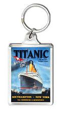 TITANIC TRAVEL ADVERTISING VINTAGE REPRO KEYRING LLAVERO