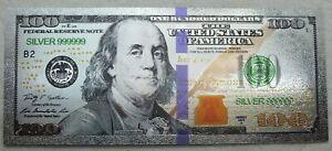 2009 A Benjamin Franklin US $100 Note Novelty Silver 999 Foil Plated Bill LG652