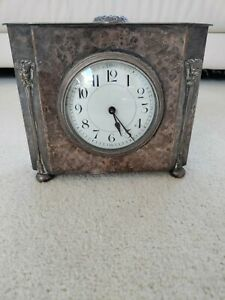 art nouveau hammered copper and silvered mantel clock