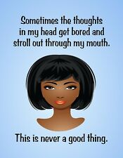 METAL REFRIGERATOR MAGNET African American Thoughts Mouth Family Friend Humor