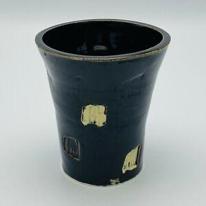 "Studio Art Pottery Cup Dark Brown with White Coffee Tea Signed Maker's Mark ""E"""