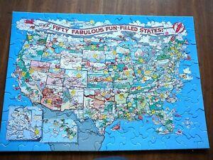 SPRINGBOK Vintage 100 PIECE JIGSAW PUZZLE - 50 FABULOUS STATES US MAP COMPLETE