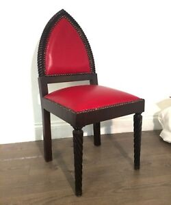 ''BOWELYN'' Moroccan Wooden/Leather Red Lounge Chair