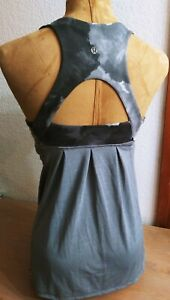 Lululemon Athletica Scoop Neck Tank Top Size 8 Women's Grey/White build in bra