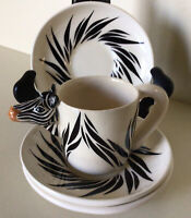 Tom Hatton~Vintage Cup & Saucers Espresso Set~Cup & Three Saucers~Circa 1985