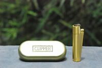2 x Gold Clipper Metal in Metallic Gold Finish Lighter Gift Tin LIMITED EDITION