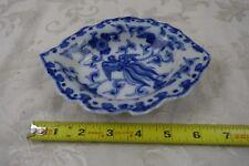 Signed Antique Japanese Blue & White Porcelain Dish w/ phoenix