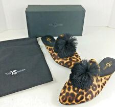 Yosi Samra Vavoom Tan Leopard Print Pom Pom Mules Calf Hair Size 8M 10M 11M