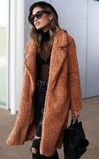 Women's Fuzzy Fleece Lapel Open Front Long Cardigan Coat Faux Fur Winter Outwear