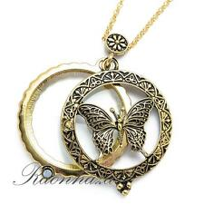 """Gold 5X Magnifying Glass Pure Spirit Butterfly Pendant 31"""" Necklace 05G"""