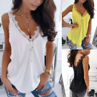 Women's Lace Sleeveless Tops Casual Slim Vest Tank Summer V Neck Strap T-Shirt
