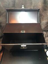 Vintage Steel Strong Box. Tilt Out File Box W/Hidden Compartment W/Original Keys