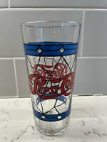 Vintage Tiffany -Style Stained Glass Pepsi Cola  16 oz. Drinking Glass 1970s